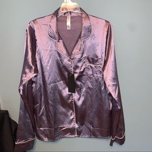Be Wicked Lilac Satin Button Down Sleep Shirt